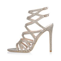 River Island Womens Gold Gladiator Heels