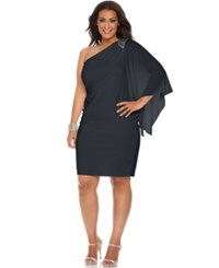 R And M Richards Plus Size One Shoulder Beaded Dress Navy