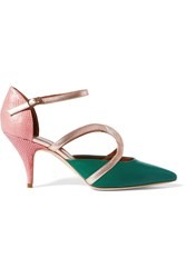 Malone Souliers Veronica Leather And Snake Pumps Green