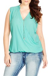 Plus Size Women's City Chic Chain Neck Sleeveless Wrap Front Top Spearmint