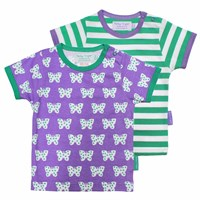 Toby Tiger Butterfly Short Sleeve T Shirt 2 Pack White Green Pink