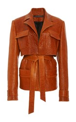 Sally Lapointe Crackled Leather Cargo Jacket Burgundy