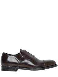 Alexander Mcqueen Brushed Leather Oxford Lace Up Shoes Brown