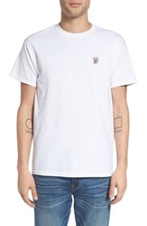 The Rail Men's Crewneck T Shirt With Embroidery White Good Luck Cat