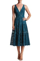 Dress The Population Women's Madelyn Lace Midi Teal Lace