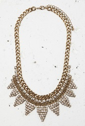 Forever 21 Curb Chain Rhinestone Necklace Antic Gold Grey