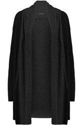 Majestic Draped Cotton And Cashmere Blend Cardigan Black