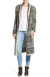 Bb Dakota Women's 'Ernler' Boucle Fair Isle Long Cardigan Oatmeal