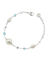 Majorica Crystal And Faux Pearl Station Bracelet Blue