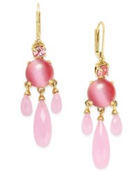 Kate Spade New York Gold Tone Stone And Crystal Chandelier Earrings Pink