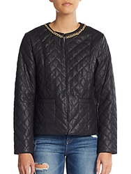 Harlow Zee Quilted Faux Leather Jacket Black