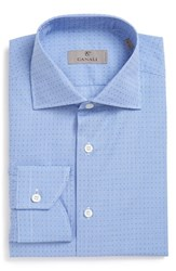 Canali Men's Big And Tall Regular Fit Check Dress Shirt Blue