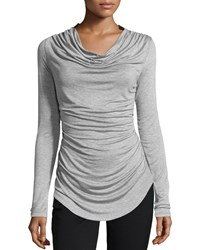 P. Luca Draped Tee W Faux Leather Trim Gray Black