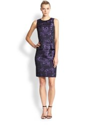 Teri Jon By Rickie Freeman Jacquard Peplum Sheath Purple