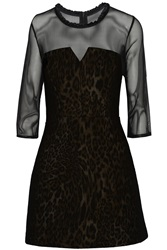 Sandro Robyn Mesh Paneled Leopard Print Cotton Blend Mini Dress Animal Print