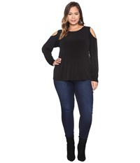 Calvin Klein Plus Size Long Sleeve Cold Shoulder Top W Pu Trim Black Women's Long Sleeve Pullover