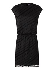 Hotsquash Diagonal Sparkle Dress In Clever Fabric Black