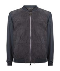 Pal Zileri Contrast Sleeve Suede Bomber Jacket Dark Grey