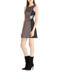 Bcbgeneration Metallic Colorblocked Fit And Flare Dress Gunmetal Combo