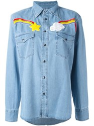 Forte Couture Embroidered Denim Shirt Blue