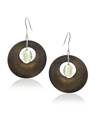 Lord And Taylor Mother Of Pearl And Wooden Hoop Earings 1.75 In. Grey