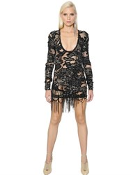 Roberto Cavalli Embellished And Fringed Georgette Dress