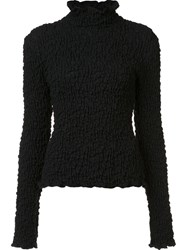 Beaufille High Neck Creased Blouse Black