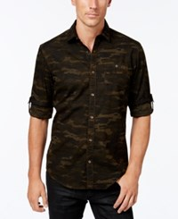 Inc International Concepts Men's Duncan Poplin Camo Long Sleeve Shirt Only At Macy's Olive
