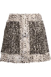 Christopher Kane Metallic Boucle Tweed Mini Skirt Black Metallic