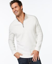 Tommy Bahama Men's Big And Tall Flip Side Reversible Zip Neck Sweater Winter White Heather