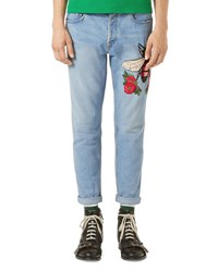 Gucci Light Wash Embroidered Denim Jeans Indigo