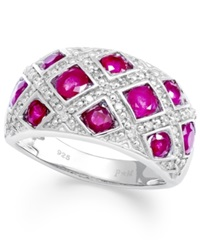 Macy's Sterling Silver Ring Ruby 2 Ct. T.W. And Diamond 1 6 Ct. T.W. Woven Band