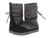 Toms Nepal Boot Black Suede Textile Women's Pull On Boots