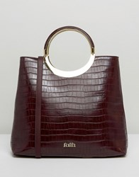 Faith Moc Croc Tote Bag With Circle Handle Berry Red