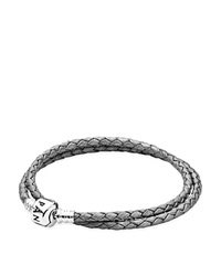 Pandora Design Pandora Bracelet Leather Double Wrap With Sterling Silver Clasp Moments Collection Silver Gray