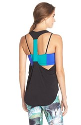 Women's Onzie Elastic Racerback Tank Blue Green Black Teal