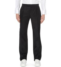 Alexander Mcqueen Stripe Detail Regular Fit Cotton Trousers Navy Off White