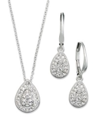 Eliot Danori Jewelry Set Rhodium Plated Crystal Teardrop Earrings And Pendant Necklace