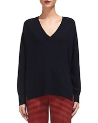 Whistles Cashmere V Neck Sweater Navy