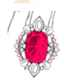 Anna Hu Haute Joaillerie Modern Art Deco Collection Chandelier Earrings In Rubellite Red