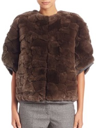 Max Mara Uvetta Fox Fur And Ponte Jacket Brown