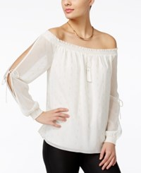 Guess Toya Off The Shoulder Peasant Top Scuffy Gold