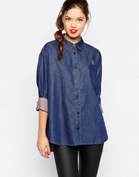 Love Moschino Denim Dot Oversize Shirt Blue