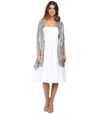 Betsey Johnson Tulle Wrap With Sequin Scallop Pattern Silver Women's Clothing