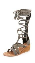 Free People Saltarello Mini Wedge Gladiator Sandals Grey