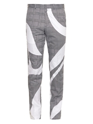 Alexander Mcqueen Hound's Tooth Check Print Cotton Trousers