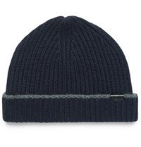 Burberry Contrast Tipped Ribbed Cashmere Beanie Navy