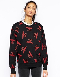 Boy London Sweatshirt With All Over Eagle Print Blackredprint