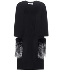 Fendi Fox Fur Trimmed Cashmere Coat Black