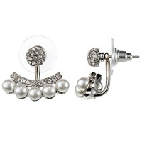 John Lewis Faux Pearl And Diamante Ear Jackets Silver